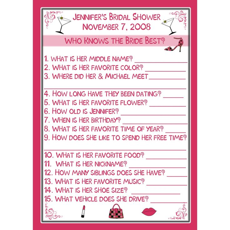 Bridal Shower Games | 24 Bridal Shower Game Cards - Who Knows the Bride Best- Personalized