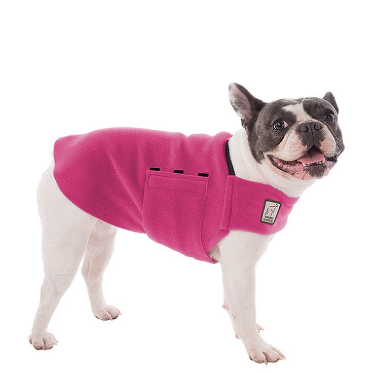 Magenta Pink French Bulldog Dog Tummy Warmer, great for warmth, anxiety and laying with our dog rain coat. High performance material. Made in the USA.