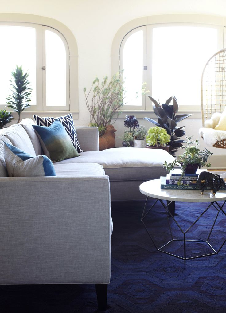 West elm living room just waiting for this coffee table for Navy couch living room
