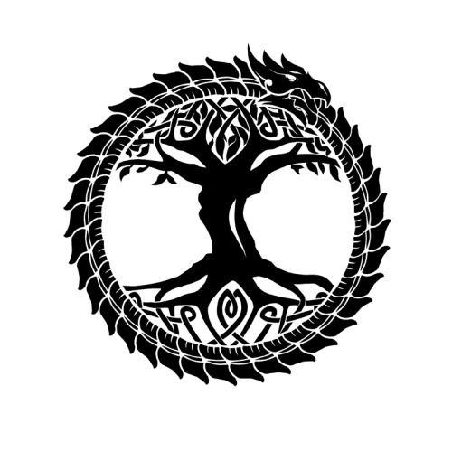 He alli la Serpiente de Midgard junto con el Arból de los Nueve Mundos