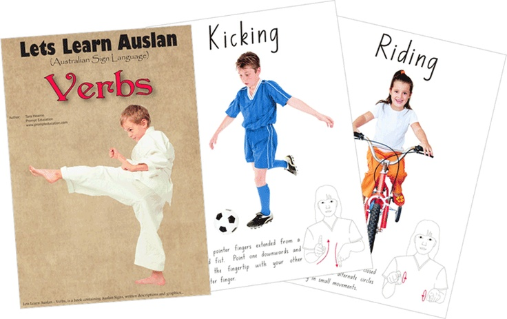 Verbs - 26 pages of different colours and shapes.  One of the first books in Australia to incorporate Auslan (Australian Sign Language) and full colour graphics in an easy to understand manner.  $20.00