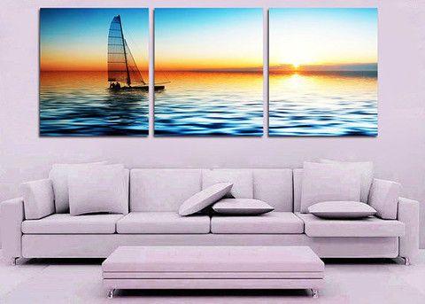 FRAMED 3 PIECE SAILBOAT WALL ART! BLUE OCEAN CANVAS SET SALE FREE SHIPPING – YOUR ART & DECOR