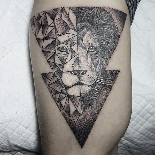 geometrictattoo lion geometric on Instagram                              …