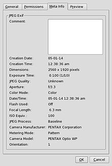 Exchangeable Image File Format-- (officially EXIF, according to JEIDA/JEITA/CIPA specifications) is a standard that specifies the formats for images, sound, and ancillary tags used by digital cameras (including smartphones), scanners and other systems handling image and sound files recorded by digital cameras. The specification uses the following existing file formats with the addition of specific metadata tags: