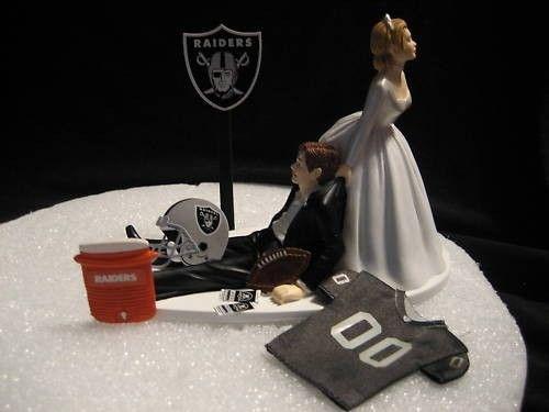 Oakland Raiders Wedding Cake Topper Groom Bride Bachelor Party. $45.00, via Etsy.