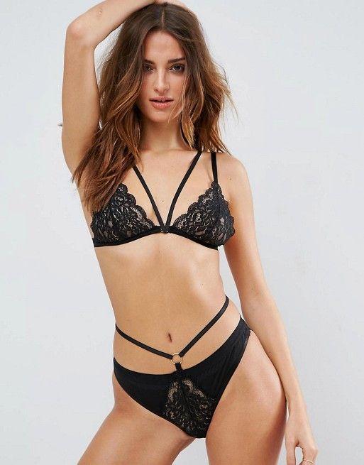 ASOS Laura Strappy Lace Triangle Bra Set in Black