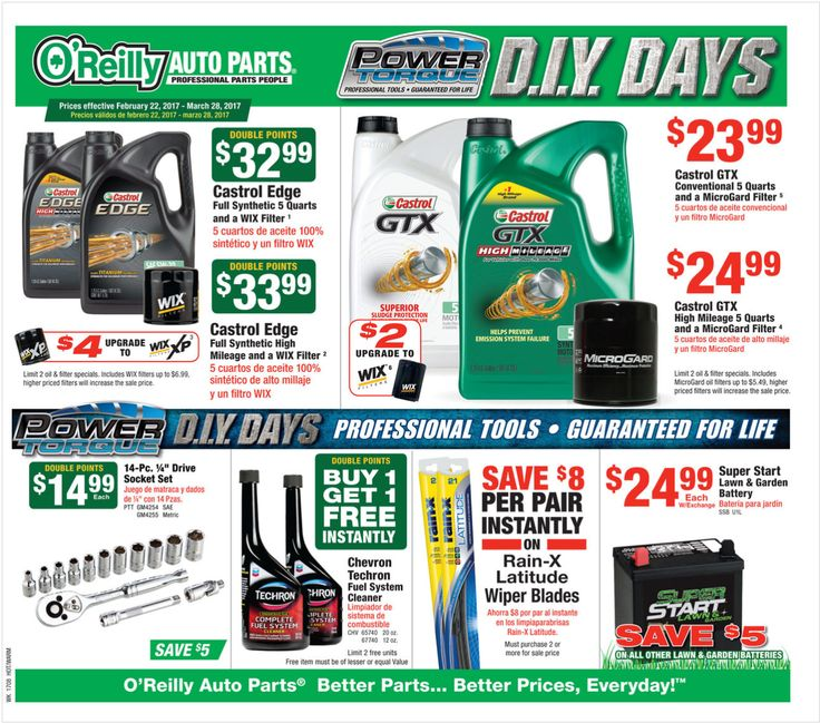 O Reilly Auto Parts February 22 - March 28, 2017 - http://www.olcatalog.com/oreilly-auto/oreilly-auto-parts.html