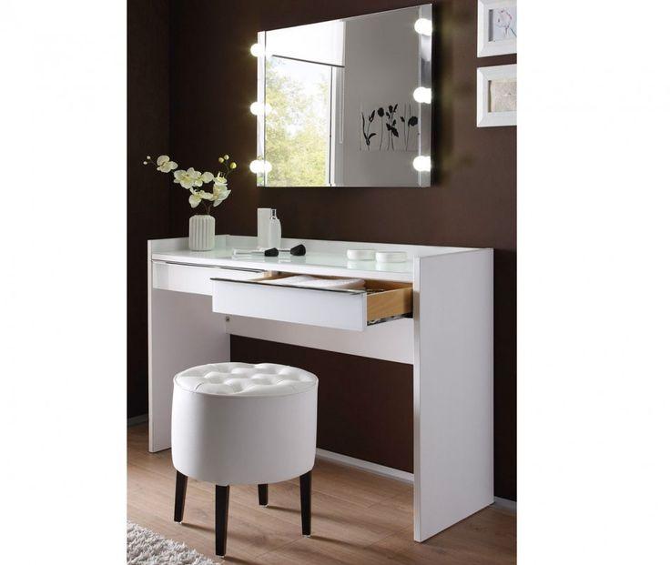 SEA227 - Masă modernă pentru machiaj - http://www.emobili.ro/cumpara/sea227-set-masa-alba-toaleta-moderna-cosmetica-machiaj-oglinda-cu-959 #eMobili