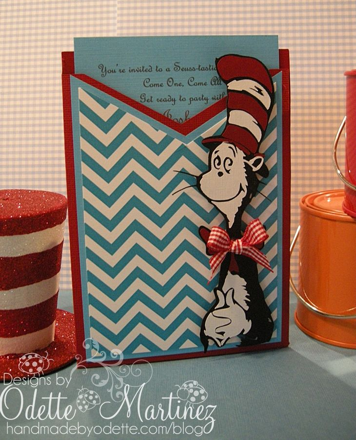 Handmade by Odette: Cat in The Hat -Dr. Seuss Invitation . . . Wow These are Great