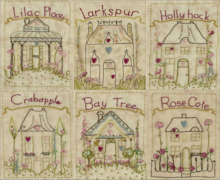 The Village Square Collection No 1 #brendaryan #cottage-garden-threads #crinolinelady #iron-on-transfers #simple-stitchery