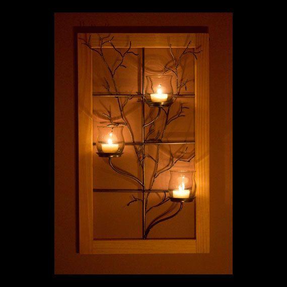 Lámpara de pared ventana marco con árbol del por NECenterpieces