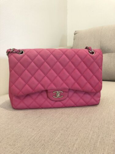 8acc33fcdefe Details about 100% Authentic CHANEL Fuchsia Sueded Caviar quilted ...