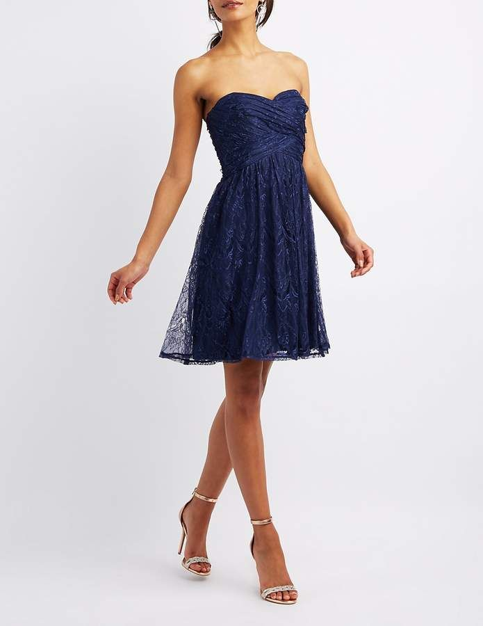 Charlotte Russe Sweetheart Lace Skater Dress bridesmaid wedding dress gown
