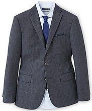 мужской пиджак, классический, с длинными рукавами, застежка-пуговицы, английский воротник, прорезные карманы, темно-серый в клетку