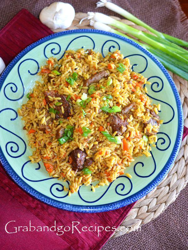 """Plov Uzbek Rice Pilaf Recipe not your traditional rice pilaf. It has a unique taste. Very popular in Slavic community here in USA."" - Grabandgorecipes.com"