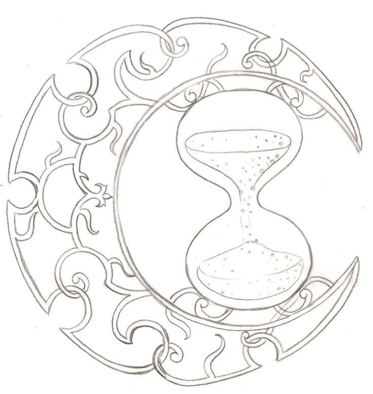 Disegno tatuaggio clessidra con luna crescente