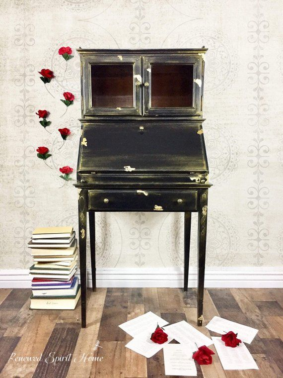 Secretary Desk Drop Leaf Vintage Writing Etsy