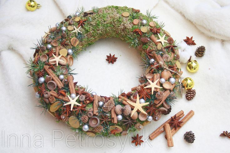 Rustic Christmas Wreath for front door. Natural wreath. Christmas Natural wreath. Christmas Gift. Xmas decoration. Natural decoration by WorkshopByInnaSt on Etsy