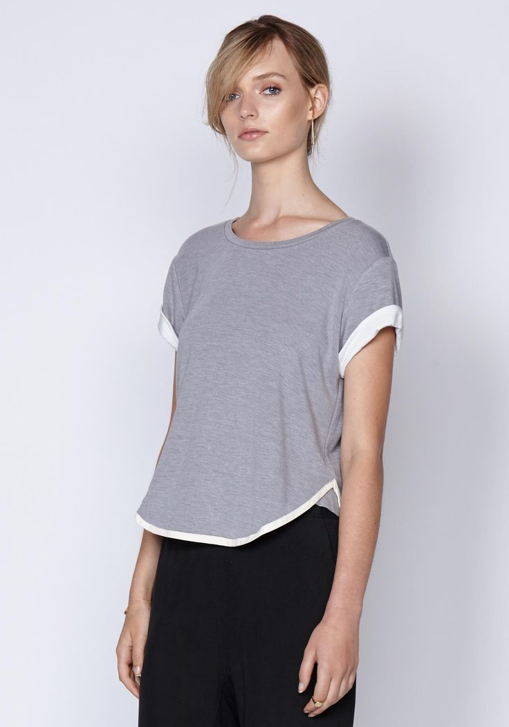Chiara Leather Bound Tee In Grey | New In | Shop the latest women's fashion at Oncewas