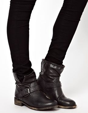 Image 3 of New Look Black Buckle Biker Boots