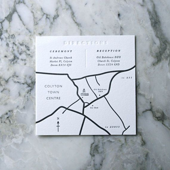 Customised Letterpress Wedding Map (50 Pieces)