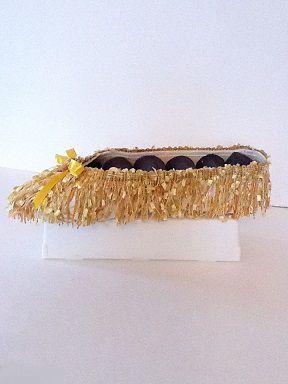 Soulier porte-bijoux effiloché jaune et noir  No. 0665