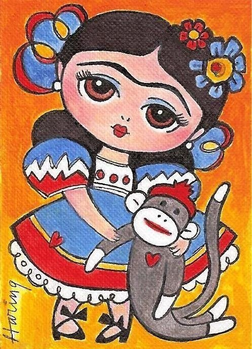 Frida Kahlo and Sock Monkey Decor Girls room art by KarenHaringArt,