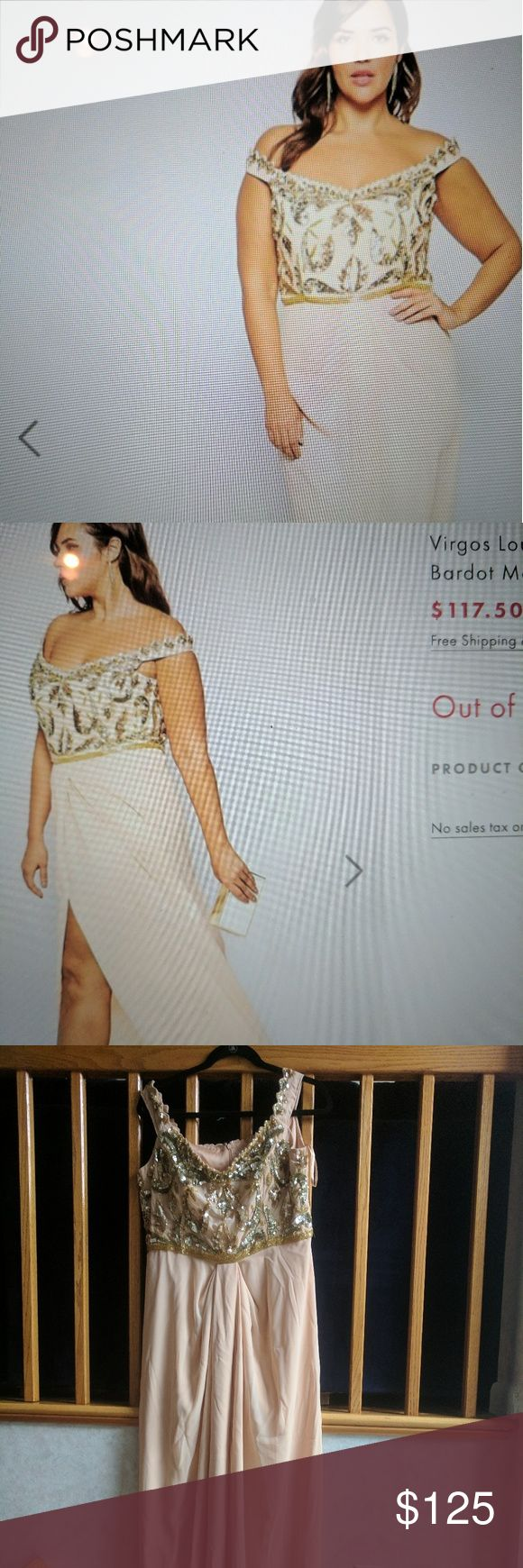 Virgos Lounge off the shoulder maxi dress Gorgeous! Beaded up top and light on the bottom. Added online photos to get the feel for the look. Ordered via Asos, sent wrong size and never returned. Tags on and brand new. Blush and champagne, size fits more of a 16 as asos can run small sometimes. Paid over $200 originally and now out of stock (see photo) ASOS Curve Dresses Wedding