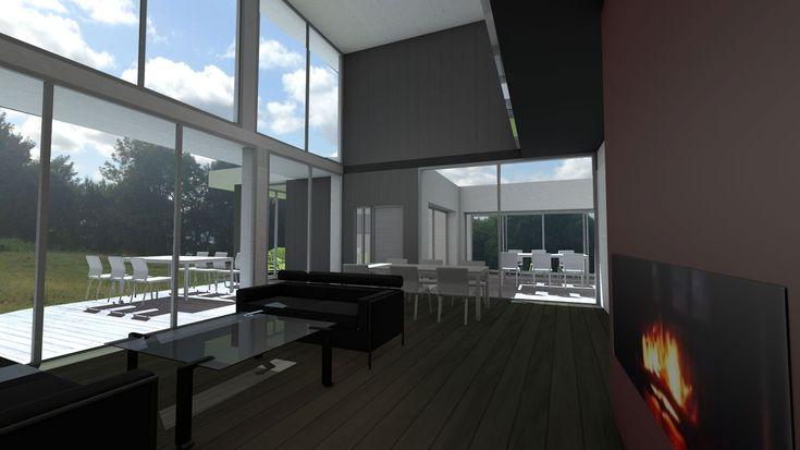 Séjour à double hauteur avec façade vitrée - Villa d'architecte à emboitement de cubes et bardages - Atelier d'architecture Scénario