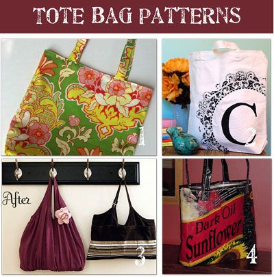 8 tote bag patterns and tutorials, for grocery bags, gifts, school, everyday use, from Tip Junkie
