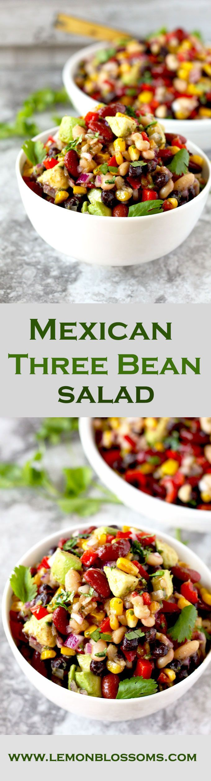 This protein-rich Mexican Three Bean Salad is loaded with southwestern flavors. Quick, easy and the perfect make-ahead dish to serve when you have company, at parties or potlucks. #salad #threebeansalad #beans #Mexicanfood #BBQ #potlucks via @https://www.pinterest.com/lmnblossoms/