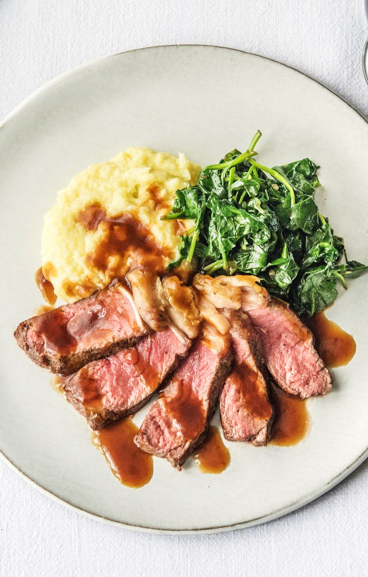 Healthy NY strip steak with cauliflower mash and spinach | More easy recipes on www.hellofresh.com