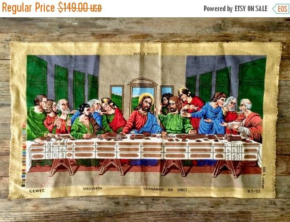 ON SALE The Last Supper Cross Stitch Finished by EllasAtticVintage