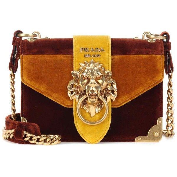 Prada Velvet Shoulder Bag ($2,660) ❤ liked on Polyvore featuring bags, handbags, shoulder bags, multicoloured, prada shoulder bag, shoulder bag purse, colorful handbags, brown purse and multi colored purses