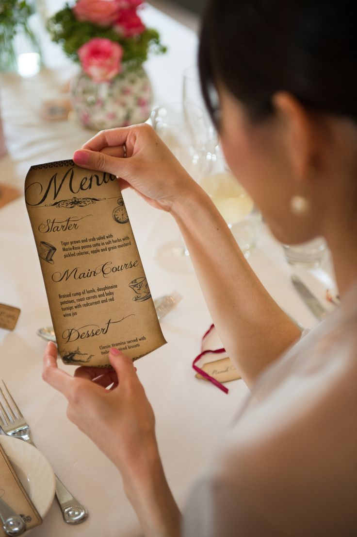Wedding dinner Menu at an Alice in Wonderland themed wedding