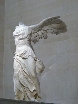 The Winged Statue of Samothrace is a 2nd century BC sculpture of the Greek goddess Nike. It has been displayed at the Louvre since 1884 and was in the Louvre before the Nazi occupation of Paris. In 1939 it was famously evacuated from the museum. A famous photo of the statue being removed from the museum on a ramp was taken September 3rd, 1939.