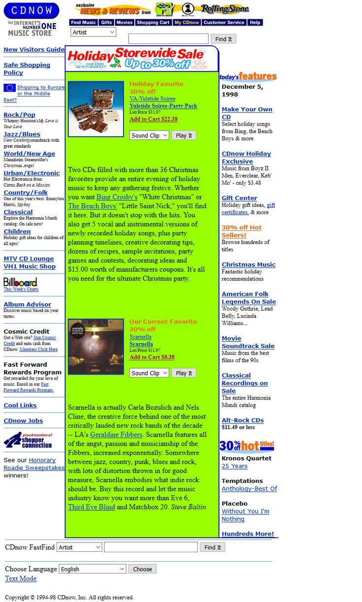 CDnow website in 1998
