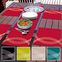 This classic cotton table range will make the perfect dinner companion with its beautiful, bold colours and contemporary style. Highlighted with crescents of contrasting silver stitching, Seville provides a modern, striking and fashionable addition to table décor. This design is ideal for an indoor or al fresco dining experience. Runner or placemat no longer available in Ocean.