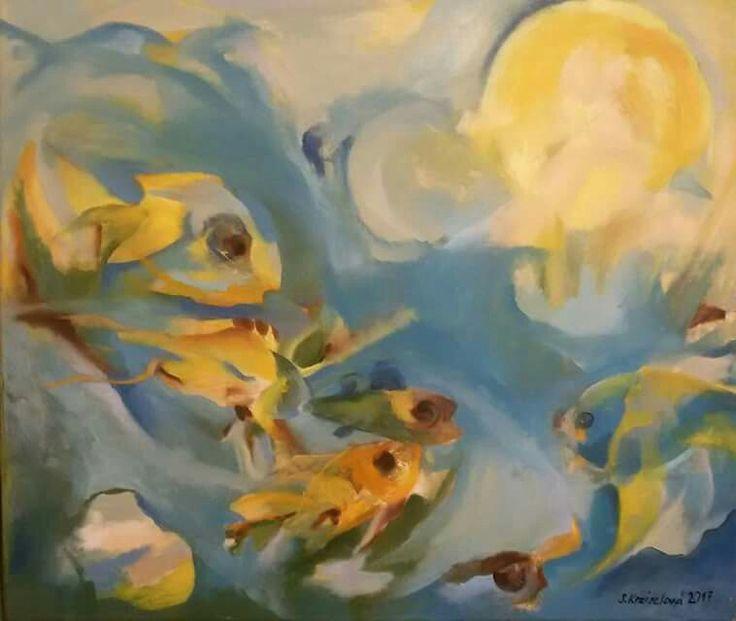 """Akvárium"", olej na plátně 50x60 cm."