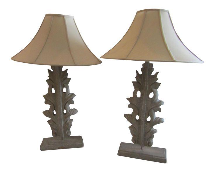 Leaf/Fleur Tall Table Lamps - a Pair on Chairish.com