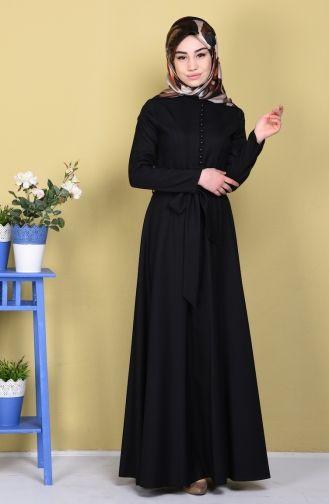 Sefamerve, Keten Düğme Detaylı Elbise 5015-03 Siyah