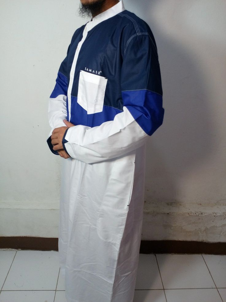 Baju Gamis Pria |Baju Jubah Pria Putih Kombinasi biru,biru dongker-Baju Muslim Samase