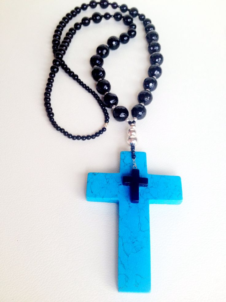 Handcrafted gemstone necklace. Faith, Love, Happiness Designed and Made by Vanessa @Molly & Eliza Turquoise howlite cross, black onyx and Sterling Silver. Unique! One of a kind. A statement piece of designer jewellery for the confident, self assured stylista. +61 413606395 (Australia) Google: @Molly & Eliza