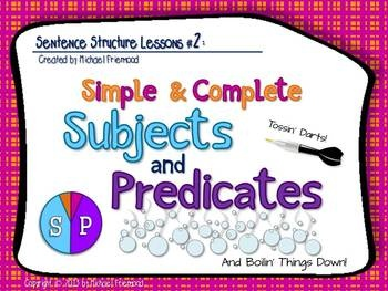 "Here is the second in a series of 5 sentence structure lessons! Packed with unique memory aids, fresh practice sentences, tons of animations, and interactive features to keep your students engaged, ""Sentence Structure Lessons #2: Simple & Complete Subjects and Predicates"" is a powerpoint-based lesson designed to..."