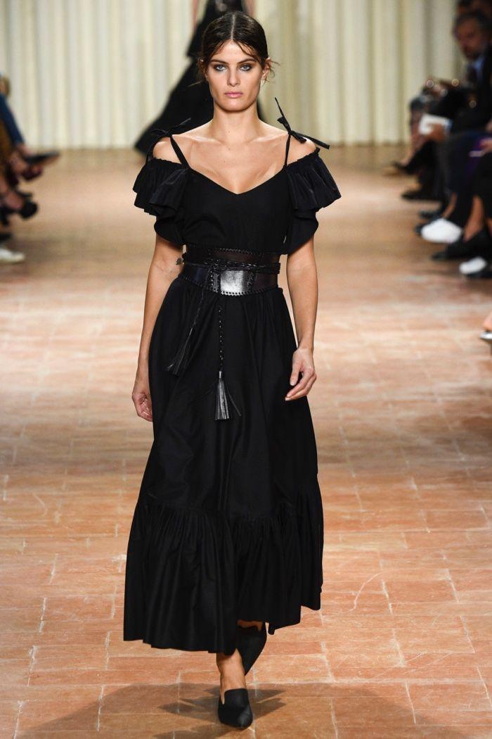 Alberta Ferretti Spring 2017: Isabeli Fontana walks the runway in black off-the-shoulder dress with leather cincher