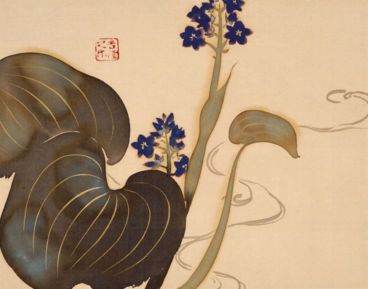 Kamisaka Sekka Flowers of the twelve months, 1920-25, one leaf from a set of 12 album leaves, ink and colour on silk 24.7 x 31.7 cm each Hosomi Museum, Kyoto