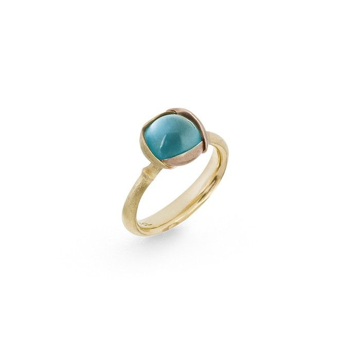 Lotus ring in 18K yellow gold with topaz - Rings | OLE LYNGGAARD COPENHAGEN