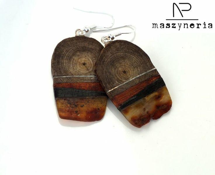 Wood  Amber - Kolczyki (proj. Maszyneria), do kupienia w DecoBazaar.com