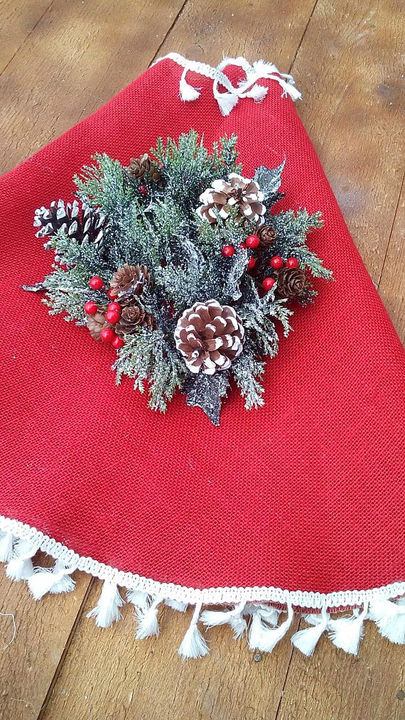 Red Burlap Tree Skirt  Christmas Tree Skirt  Tree Skirt