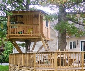 Deck + playhouse. Talk about a multipurpose space! #buildit